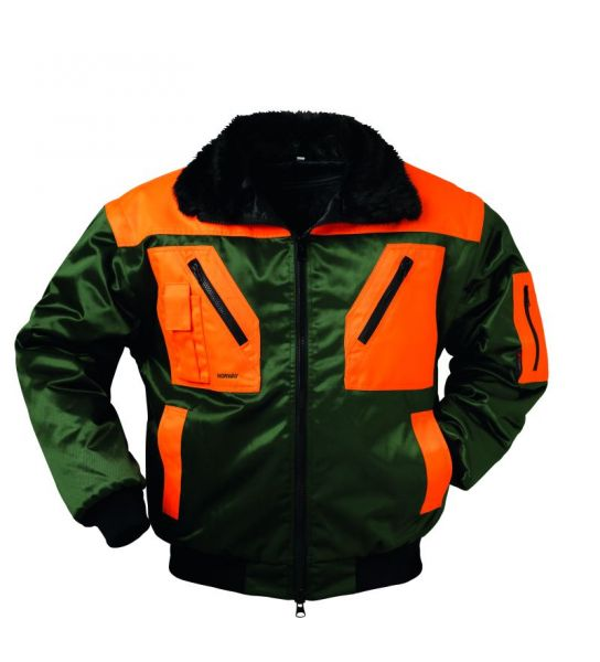 Pilotjacke grün/orange Feldtlmann Norway Multifunktion